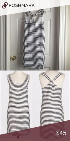 J. Crew Dress J. Crew Factory dress, white with black stripes, crosses in the back. Hidden zipper and fully lined! Never worn, excellent condition! Hits above the knee J. Crew Dresses Midi