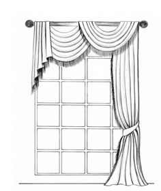 Curtain Design for Family Room - Monaco Pole Swag