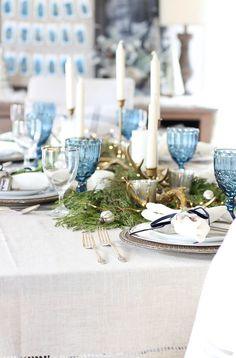 I will be sharing more on my winter tablescape next week, but so many of you ask. Christmas Tablescapes, Holiday Tables, Christmas Decorations, Table Decorations, Holiday Decor, Centerpieces, Winter Table, Rooms For Rent, Blue Christmas