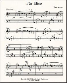 Fur Elise sheet music in its entirety, with quarter notes for easy deciphering! These beautiful transcriptions are perfect for students who've just mastered coordination of right hand melody against left hand broken chords. Fur Elise Sheet Music, Piano Sheet Music Classical, Accordion Sheet Music, Piano Sheet Music Letters, Saxophone Sheet Music, Classical Music Composers, Sheet Music Art, Easy Piano Sheet Music, Sheet Music Notes