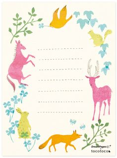 Free Download: Charming Animal Note Sheets (blogged). Illustrated by Masako Kubo