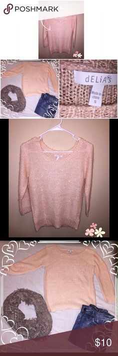 🎉Delias size small sequin sweater Pink sequin sweater, size small from Delias. Must wear something underneath, you can slightly see through and it would be itchy without something underneath. Super Cute for a party 🎉 Delias Sweaters Crew & Scoop Necks