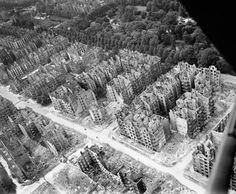 Hamburg, 1943, Aerial view of ruined residential and commercial buildings south of Eilbektal Park in the Eilbek district of Hamburg. Part of the 16,000 apartment buildings destroyed by...