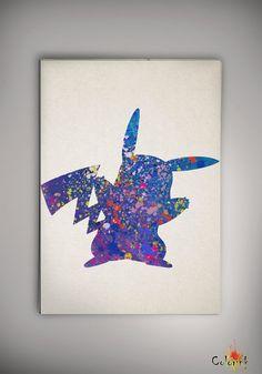 N248 Pikachu Pokemon aquarelle Print d'archivage Print par ColorInk