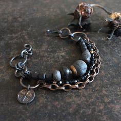 Solar cross bracelet, rustic triple bracelet, black and antique gold bracelet, ancient amulet bracelet, bronze age symbol bracelet