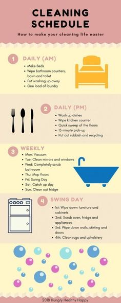 An Easy Cleaning Schedule by Hungry Healthy Happy. There never seems to be enough time to do everything and if cleaning is one of your least favourite things to do, this easy cleaning schedule is going to make your life a bit easier. Deep Cleaning Tips, House Cleaning Tips, Cleaning Solutions, Cleaning Hacks, Cleaning Schedules, Diy Hacks, Weekly Cleaning, Bedroom Cleaning, Apartment Cleaning Schedule