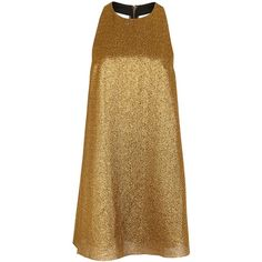 Womens Cocktail Dresses Alice + Olivia Harrison Open-back Gold Lamé... ($445) ❤ liked on Polyvore featuring dresses, brown cocktail dress, open back cocktail dress, halter mini dress, open back short dresses and halter top