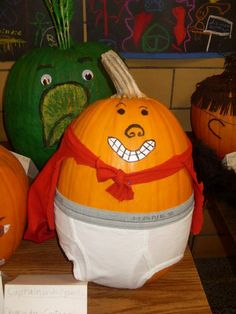 Captain Underpants!!! Idea for Halloween contest! Bring a pumpkin decorated like your favorite character and enter to win a prize!