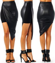 0d1b706a750d Faux Leather Draped Skirt