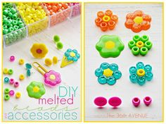 Melted Beads and Accessories This is so fun and easy to do! You can make a ton of jewelry, bookmarks, hair clips, and even magnets. Cute Crafts, Bead Crafts, Paper Crafts, Craft Activities For Kids, Crafts For Kids, Arts And Crafts, Craft Gifts, Diy Gifts, Diy Craft Projects