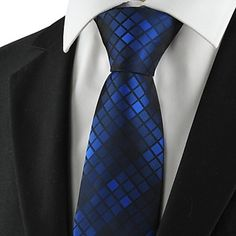 Checked Pattern Navy Mens Tie Formal Suits Necktie – USD $ 8.39