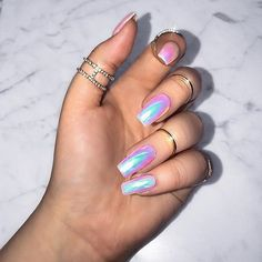 31 Unicorn Nails Are you a unicorn lover? Well, we have amazing news for you! We've found 31 unicorn nails that you need to take a look at … And possibly making an appointment at the nail salon for. The unico… Unicorn Nails Designs, Unicorn Nail Art, Cute Acrylic Nails, Acrylic Nail Designs, Chrome Nails Designs, Hair And Nails, My Nails, Hippie Nails, Crome Nails