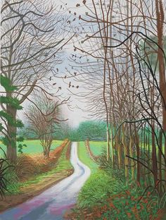 David Hockney: The Arrival of Spring in Woldgate, East Yorkshire in 2011 (twenty eleven) - 29 December, No. David Hockney Ipad, David Hockney Artist, David Hockney Paintings, Abstract Landscape, Landscape Paintings, Pop Art, Landscape Arquitecture, Drawing Artist, Art Design