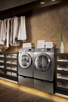 Laundry room idea: shelving and a rod for hanging clothes>>> Having a long narrow room for your laundry room seems like a good idea. Another is if you have a small place, why not combine the washer and dryer with your closet!!!