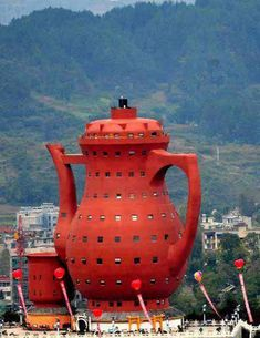 Interesting tea pot shaped museum of Tea Culture in Meitan County, China.