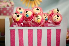 Cute baby cake pops at a sugar and spice girl baby shower party! See more party planning ideas at CatchMyParty.com!