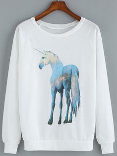 Horse Print Loose Sweatshirt 12.67