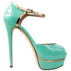 Le Silla...mint and gold platform peep toe heels