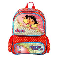 Dora The Explorer Bag - Red — A multi-purpose bag which you can carry as a handbag or as a backpack for your kids. With two pockets to place more stuffs. A mascot of Dora the explorer printed on front to make kids feel more better about having close to Dora.