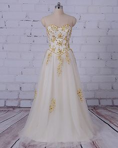 LORIE Gold Evening Dress Sweetheart Beaded with Rhinestones A-Line Tulle Floor Length Long Prom Dress Party Gown robe de soiree Wedding Dresses Under 100, Gold Prom Dresses, Prom Party Dresses, Beach Dresses, Sexy Dresses, Cute Dresses, Strapless Dress Formal, Dress Long, Dress Beach
