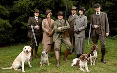 Downton Abbey family posing in a beautiful outdoor costume!!!!!!