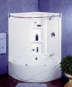 Small Corner Soaking Tub - Corner Tub and Shower Combo. Corner Tub Shower Combo, Corner Bathtub Shower, Corner Soaking Tub, Shower Tub, Bath Tub, Corner Showers, Bath Room, Bathroom Tubs, Soaking Tubs