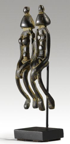 DOGON MALE AND FEMALE COUPLE PENDANT, MALI Height: 2 3/4 in (7 cm)