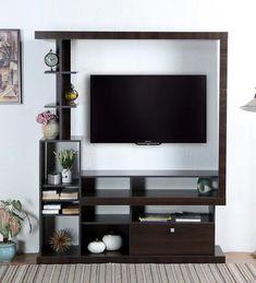 Buy kuniko tv unit in nut brown finish by mintwud online - modern tv units - tv units - furniture - pepperfry product Tv Unit Furniture, Furniture Legs, Furniture Design, Tv Unit Design, Shelf Design, Wall Mounted Tv Unit, Tv Unit Online, Modern Tv Units, Buy Tv