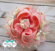 Vintage Inspired OTT Hair Bow by BrittanysBowsNMore2 on Etsy, $14.50
