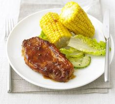 BBQ pork steaks with smoky corn - A quick and easy midweek meal ready in under 20 minutes