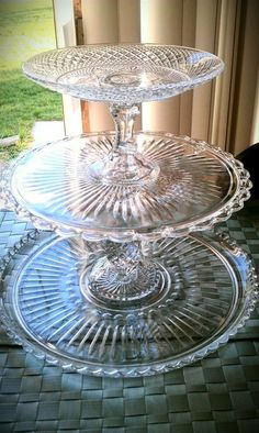 Make cake stands and candle stick  from glass plates: from the second hand store  or dollar tree store....