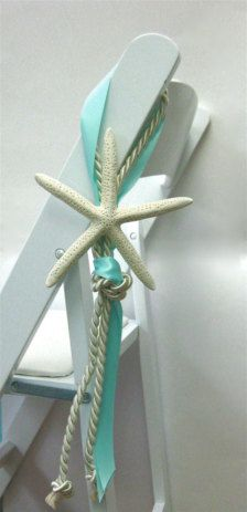 Beach Wedding Chair Decoration - Natural White Starfish - in. - with Cording and Ribbon via Etsy Beach Wedding Favors, Nautical Wedding, Wedding Wishes, Wedding Ceremony, Our Wedding, Destination Wedding, Wedding Planning, Dream Wedding, Beach Weddings