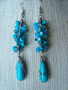SALE Turquoise cluster statement earrings by girlsewcute on Etsy, $25.00