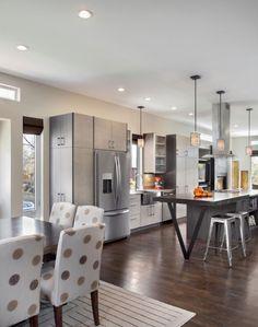 zweiseitige Küchenschränke-Kochinsel mit Bar-Wohnküche einrichten