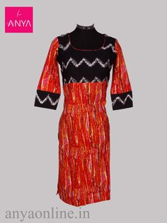 Black and orange ikat kurti with elbow sleeve.  https://www.anyaonline.in/black-and-orange-ikat-kurti  Colour: Black and orange Material:Cotton Occasion: Casual wear   #ikat_kurti #abstract #black_orange