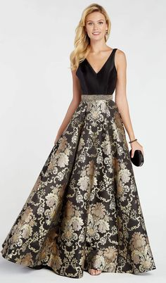 Alyce Paris - 60399 Sleeveless Floral Brocade A-Line Gown – Couture Candy Gala Dresses, Event Dresses, Cheap Prom Dresses, Casual Dresses, Fashion Dresses, Bridesmaid Dresses, Formal Dresses, Gold Two Piece Prom Dress, A Line Gown