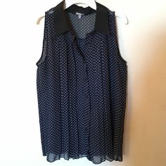 Button down tank Navy blue polka dot style long and flowy Charlotte Russe Tops Button Down Shirts