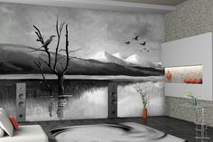 Black N White Wallpaper Modern Designs . Walls and Murals Black Wallpaper For Walls, Bright Wallpaper, Green Wallpaper, Pattern Wallpaper, Wallpaper Online, Home Wallpaper, Custom Wallpaper, Photo Mural, Murals