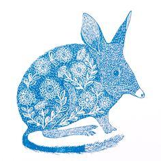Excited to share the latest addition to my #etsy shop: Australian Bilby Linocut Original Print / Lino Print Australian Animal / Original Artwork / Australian Native Wildlife Art #art #printmaking #woodblock #birthday #easter #linocut