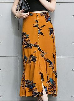 Polyester Floral Long Casual Others Skirts - Polyester Floral Long Casual Others Skirts You are in the right place about outfits para salir de no - Skirt And Top Dress, Midi Dress Work, Silk Mini Dress, Dresses For Work, Diy Maxi Skirt, Modest Fashion, Boho Fashion, Fashion Dresses, Fashion Design
