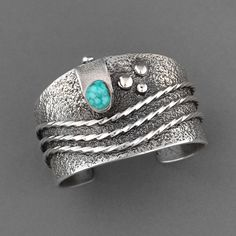 Cuff | Monty Claw (Navajo). Sterling Silver, Natural Kingman Water Web Turquoise.