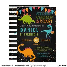 Shop Dinosaur Roar Chalkboard Confetti Birthday Invitation created by PollyFunDesign. Dinosaur Birthday Invitations, Dinosaur Birthday Party, Boy Birthday, Birthday Parties, Birthday Ideas, Happy Birthday, Reptiles, Reptile Party, Chalkboard Invitation