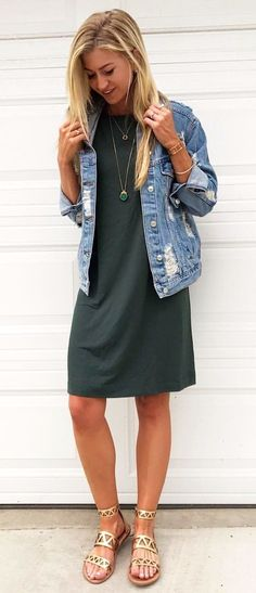 #summer #outfits I Found The Perfect Shift Dress On Sale At The #nsale. It's Perfect To Wear Now On It's Own, And Even Better With A Distressed Denim Jacket. (the Best Distressed Denim Jacket I've Ever Seen)