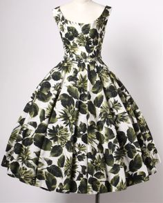 '1950's Printed Raw Silk Floral Party Dress