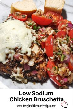 Juicy marinated chicken breast topped off with cheese and a flavorful – beautiful bruschetta mix. A low sodium recipe that is bursting with flavor! Chicken With Italian Seasoning, Bruschetta Chicken, Low Sodium Recipes, 9x13 Baking Dish, Marinated Chicken, Heart Healthy Recipes, Meal Recipes, Entrees, Main Dishes