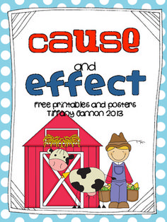 This little packet contains 2 posters and 2 recording sheets for helping find the cause and effect in a story.  I like to use the story Click, Clack, Moo: Cows that Type by Doreen Cronin.  This packet focuses on that story but can also be used with any story.