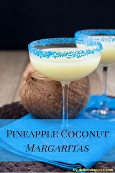 Pineapple Coconut Margarita recipe: Pineapple and coconut – the flavors of lazy summer days and island vacations. Add these flavors together with a top shelf tequila, and you have the makings of a tasty, fruity margarita. Make a batch, break out your drink umbrellas and tiki bar glasses, and enjoy!  via @dellcovespices
