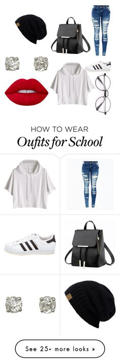 """""""school outfit"""" by diamondinthesky13 on Polyvore featuring adidas and Lime Crime"""