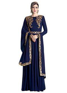 Navy Blue Georgette Embroidered Anarkali Suit