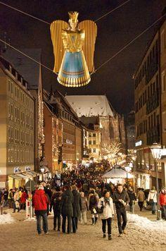Weihnachtsengel (Christmas Angel) along a Christmas market street in Nürnberg, Germany -- by lenkolaf on Flickr